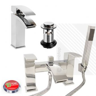 Arian Poppy Modern Curved Bathroom Basin & Bath/Shower Mixer Tap Pack